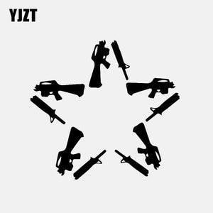 Yjzt 14.2 cm * 13.3 cm armas estrela vinil decalque etiqueta do carro preto/prata C3-0696