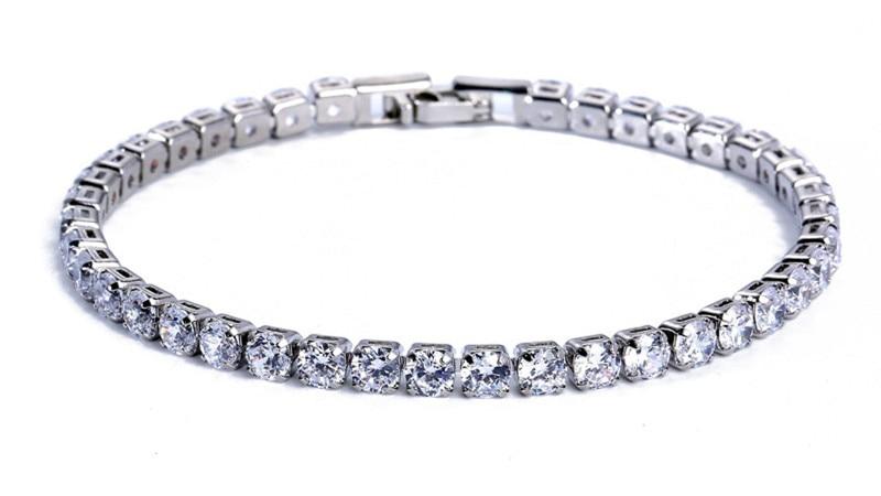 Luxury 4mm Cubic Zirconia Tennis Bracelets Iced Out Chain Crystal Wedding Bracelet For Women Men Gold Silver Bracelet Jewelry 12