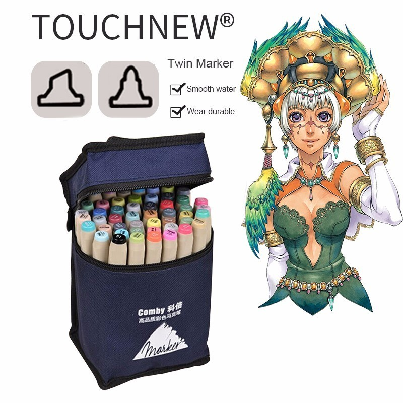 TouchFIVE 30/40/60/80 Color Art Marker Set Dual Headed Artist Sketch Oily Alcohol based markers For Animation Manga Art Supplies touchnew 30 40 60 80 color art markers set material for drawing alcoholic oily based marker manga dual headed brush pen