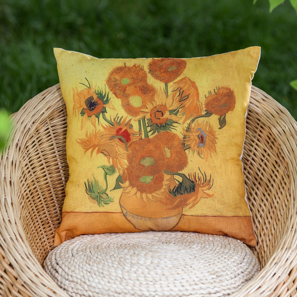 Van Gogh sunflower oil painting linen look decorative pillow cover throw pillow cover cushion ...