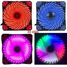 Ультратихий вентилятор для игрового корпуса, 15 светодиодов или 33 светодиода, 16 дБ, охлаждающий резиновый вентилятор 12 см, 12 В, molex, 4 контакта, 3p