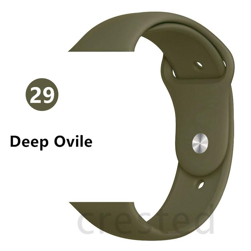 Силиконовый ремешок для apple watch 4 5 44 мм/40 мм спортивный ремешки для apple watch 3 42 мм/38 мм резиновый ремень браслет ремешок для часов apple watch Band Мягкий красочный ремешок iwatch series 4 3 2 1 - Цвет ремешка: Dark Olive