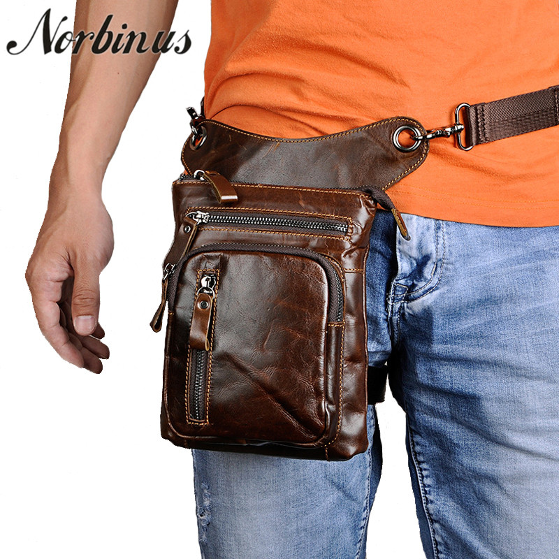 Norbinus Real Genuine Leather Thigh Drop Leg Bag Men Motorcycle Rider Messenger Hip Belt Fanny Pack Male Waist Bags Phone Pouch цена 2017