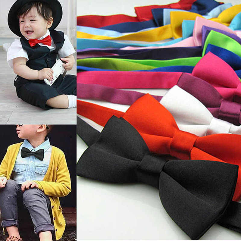 Classic Kid Bowtie Boys Grils Baby Children Bow Tie Fashion 35 Solid Color Mint Green Red Black White Green Pets Cravate Prom