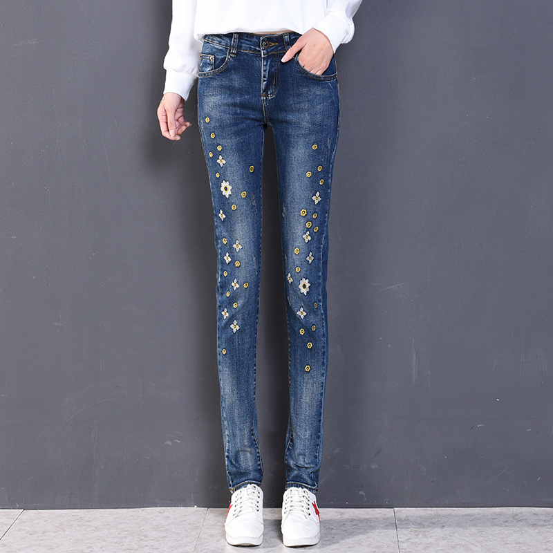 New Mid Waist Jeans Full Length Trousers Elastic Skinny Jeans Female Pencil Pants Woman Jeans Women Slim Fashion Denim Blue hot sale skinny jeans woman spring new pencil jeans for women fashion slim blue jeans mid waist women s denim pants trousers