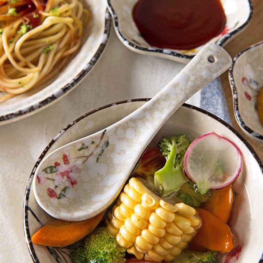 1 pc-estilo Japonês de Cerâmica Colher Mexa Colher de Sopa Colher Arroz Colher de Cozinha Utensílios de mesa das Crianças