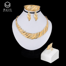 BAUS Turkish jewelry sets bridal gift fashion Dubai gold color Jewelry set Nigerian Wedding necklace earrings Wholesale design(China)