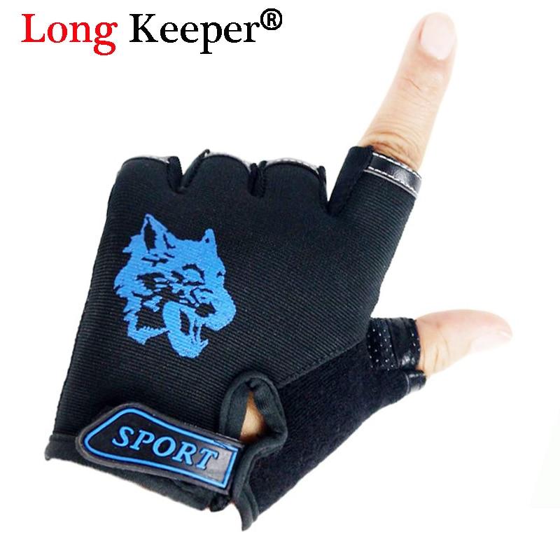 Long Keeper Cool Children Gloves! Wolf Gloves for 5-13 Years Kid Non-Slip Breathable Sports Guantes Boys Girls Fingerless Gloves
