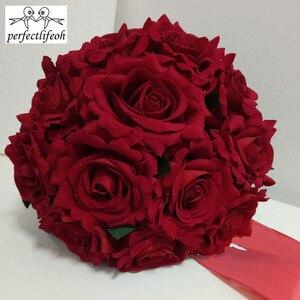 Image 4 - Perfectlifeoh باقة الزفاف الديكور زهور الورد باقة الزفاف الأبيض الساتان رومانسية الزفاف الزهور باقات الزفاف