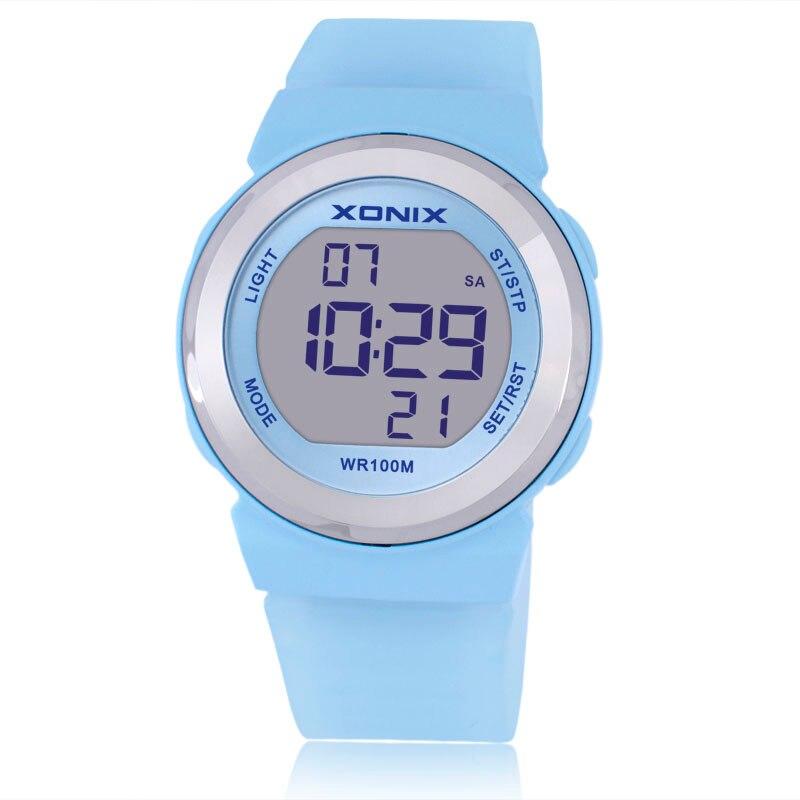 ¡ Caliente!!! Moda XONIX Mujeres Relojes Deportivos A Prueba de agua 100 m Damas Jalea Reloj Digital LED Natación Buceo Mano Reloj Montre Femme
