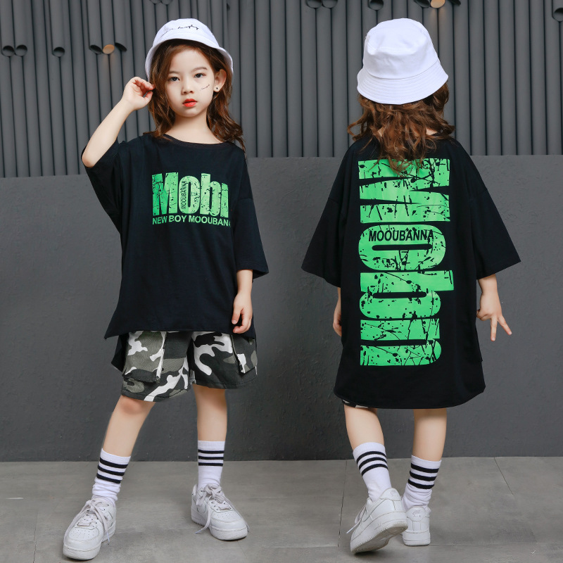 Kid boy girl Hip Hop costume Clothing loose-fitting black T-shirt camouflage shorts Dance Clothes Ballroom Dancing Streetwear