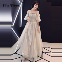 It's YiiYa Evening Dress 2018 Illusion Lace Beading Appliques Boat Neck A line Gray Dinner Gowns SB008 robe de soiree
