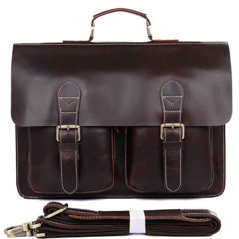 ANAPH Colombian Leather Flap-Over Twin Buckle Men's Messenger Bag, 15″ Laptop Satchel Briefcases Chocolate – 30 Year Warranty