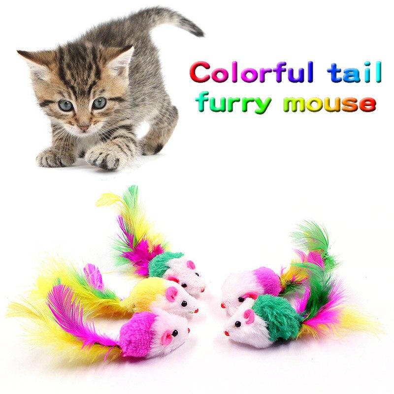 Venta 1 UNID Colorido Pluma Falsa Ratón Gato Mascota juguetes Color ...