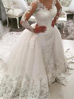 Ensotek арабское, с длинными рукавами кружево платья для женщин Свадебная вечеринка 2019 Винтаж Аппликации вато поезд Свадебные платья Свадебно