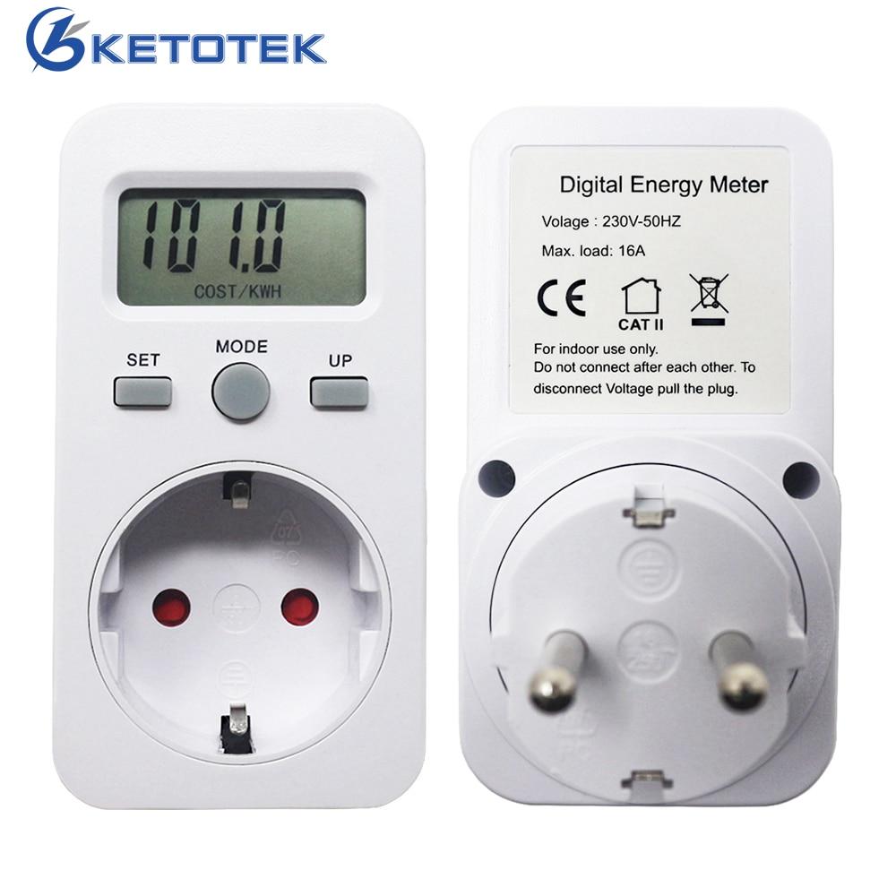 все цены на EU Plug Plug-in Energy Meter AC 230V 16A 3680W Digital Wattmeter LCD Display Power Monitor Watt Meters Energy Detector
