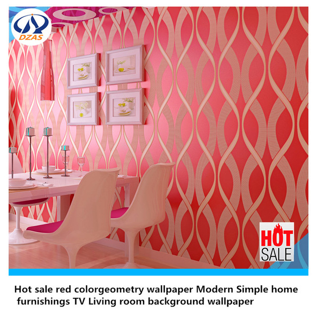 Hot sale red colorgeometry wallpaper Modern Simple home furnishings ...