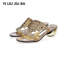 high quality Sandals Women shoes Sandals Summer Rhinestone Slippers Shoes women Peep Toe mid Heels slippers Zapatos Mujer **688 new women flat shoes rhinestone slippers colorful crystal sandals kid suede rivets studded outdoor rhinestone zapatos mujer