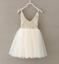 New Hot Baby Dress Gold Sequins Lace Sling White Tutu Dresses For Party Wedding Clothing Size 2-6Y