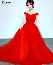 Elegant Off the Shoulder Tulle Dress V Neck Bodycon Wedding Party Burgundy/Red Evening Maxi Vestidos