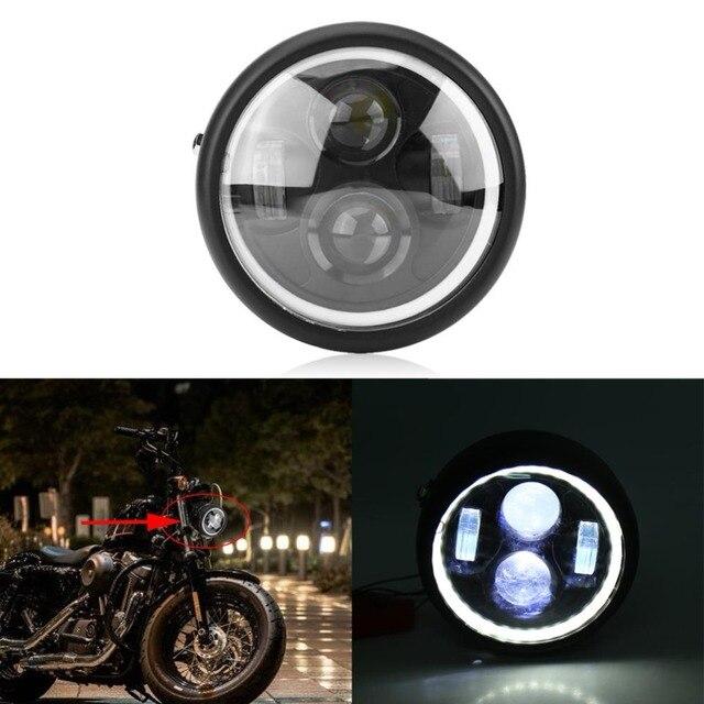 "16cm/6.5"" Motorcycle LED Headlight HeadLamp Bulb for Harley Sportster Cafe Racer Bobber Motor HeadLamp Bulb DRL With Angel Ring"