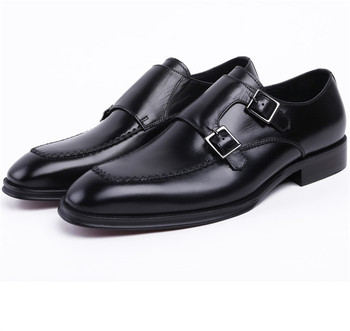 Double Monk Strap Social Shoes Brown Tan / Black Mens Dress Shoes Genuine Leather Business Shoes Male Wedding Groom Shoes