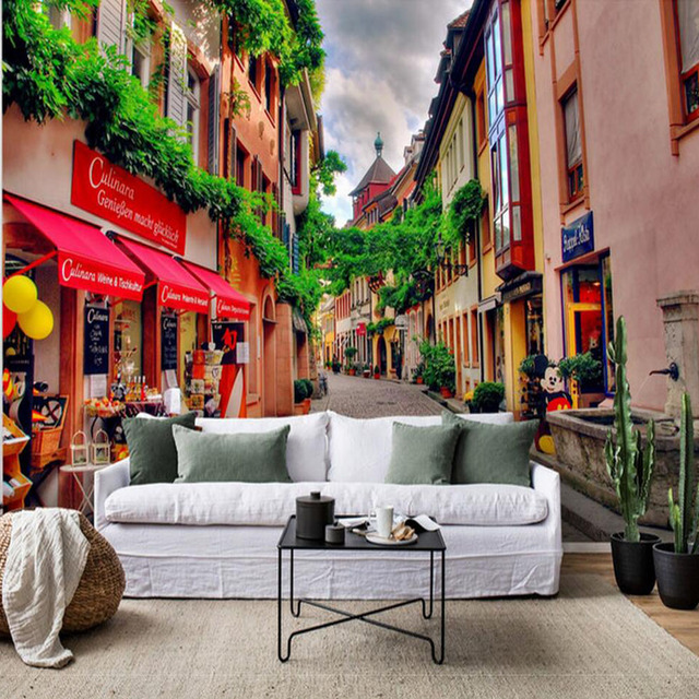 European Vintage Town Photo Wall Mural for Living Room Bedroom ...