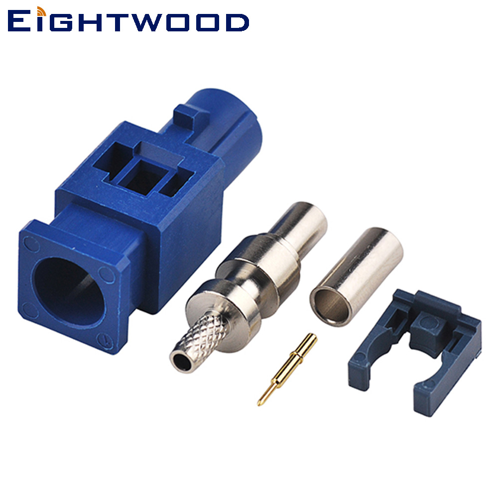 Eightwood 5PCS <font><b>GPS</b></font> Connector <font><b>Fakra</b></font> C Blue/5005 Plug Male Crimp For RG316 RG174 LMR100 Cable for <font><b>GPS</b></font> Telematics or Navigation image