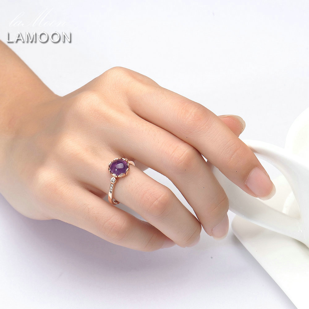 Relatively LAMOON Purple Amethyst Engagement Ring Lady 925 Sterling Silver  DQ06