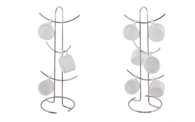Edelstahl metall Cup anzeigen-zahnstange tasse blumenerde pflanzenhalter zeigt desktop tasse halter möbel zubehör