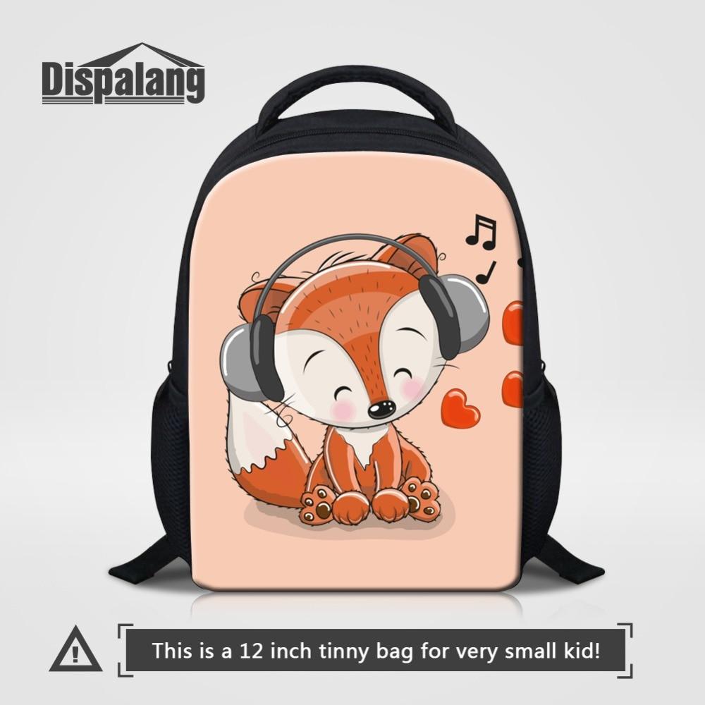 12 Inch Small Backpack For Boy Girls Cute Cartoon Animal Fox Print Kids Kindergarten School Bags Children Daily Bagpack Rucksack