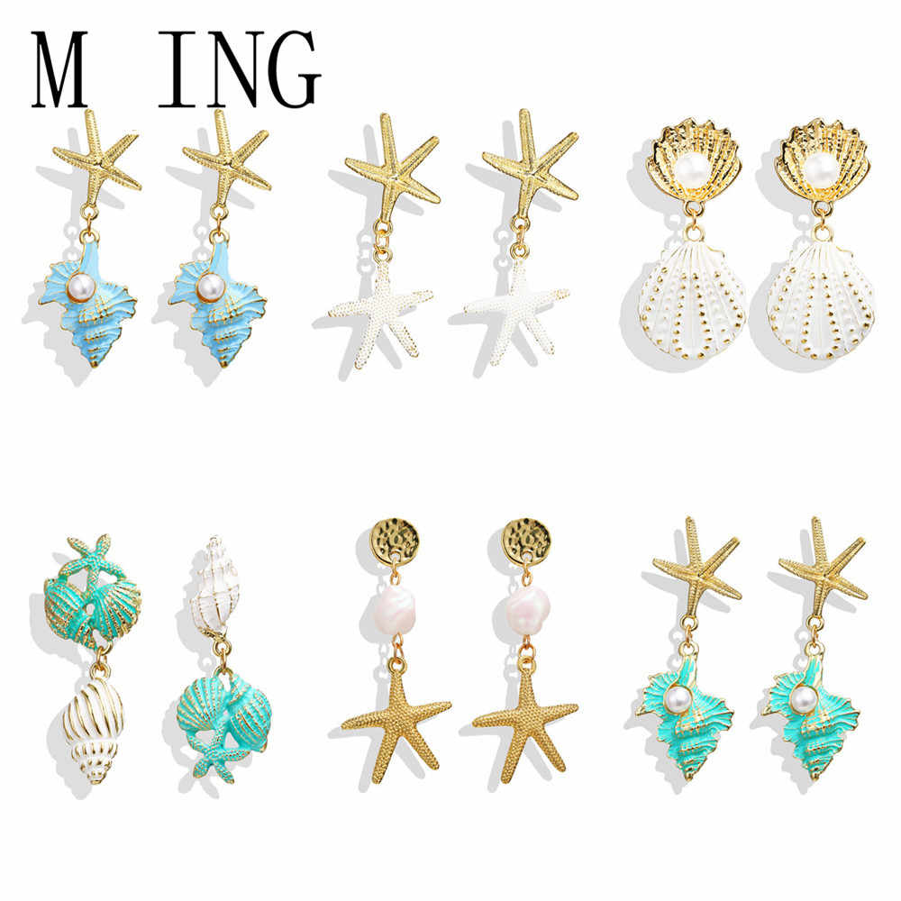 MLING Vintage Gold Summer Beach Earrings Bohemian Pearl Starfish Conch Scallop Drop Earrings For Women