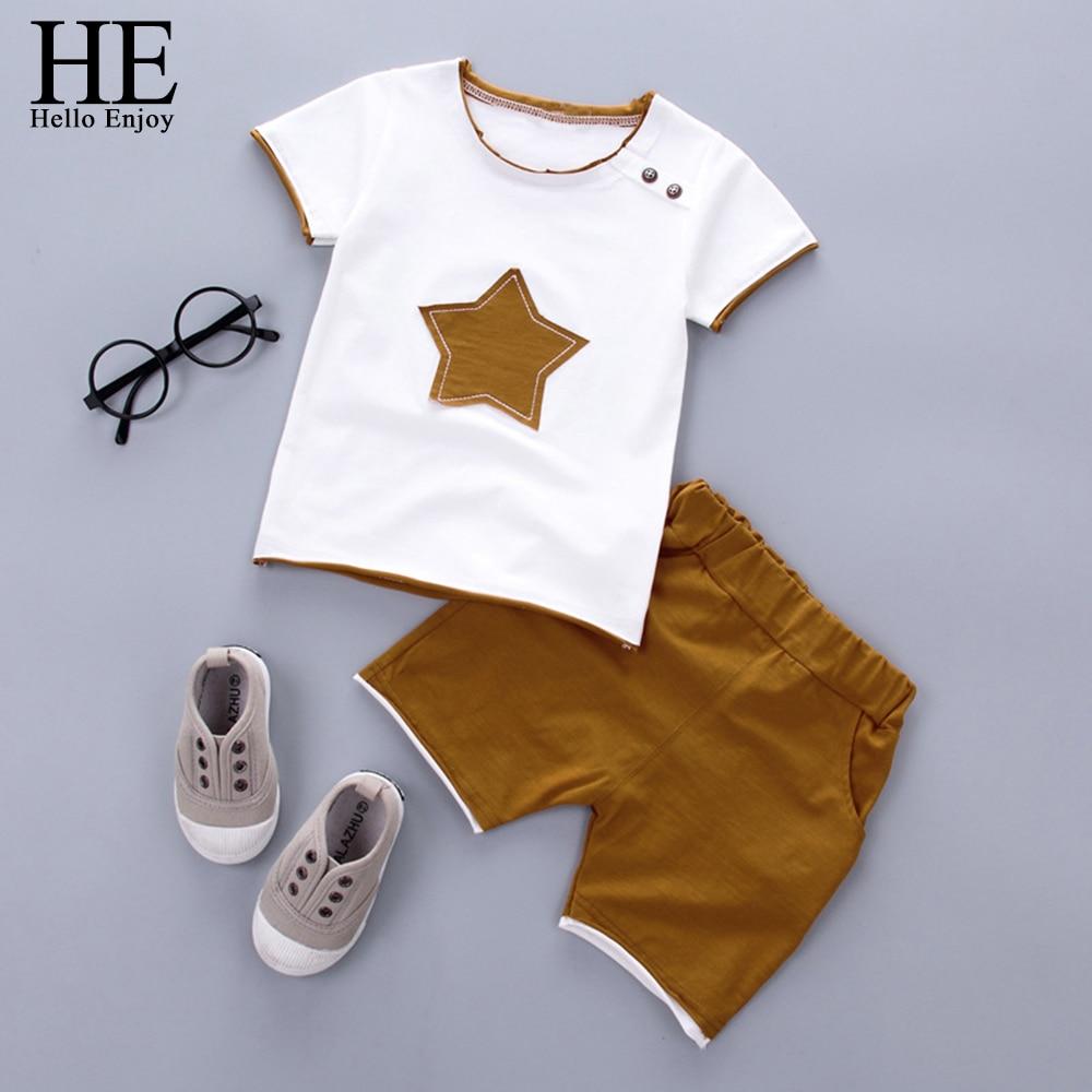 HE Hello Enjoy Kids Clothes Toddler Boys Clothing Set Children Summer Cartoon Kids Applique Star Tops Shorts Infantil Baby Suit