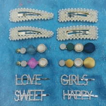 12 Pcs/set Girls Pearl Hair Clip Crystal Rhinestone Clamp Hairpin Acrylic Dot 4 Styles Letters Love Sweet Accessories