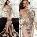 Luxury Crystal Evening Dresses With Stone 2015 sexy mermaid One Shoulder Rhinestone Gowns Muslim Long Sleeve Gold Prom Dresses