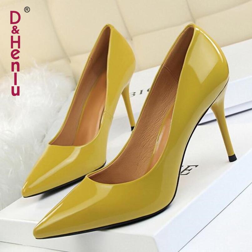{D&Henlu} 2018 New Basic Women Pumps Sexy Pointed Toe Thin Heel High Heels Glossi Shoes Glitter stiletto Heels Brand Women Shoes
