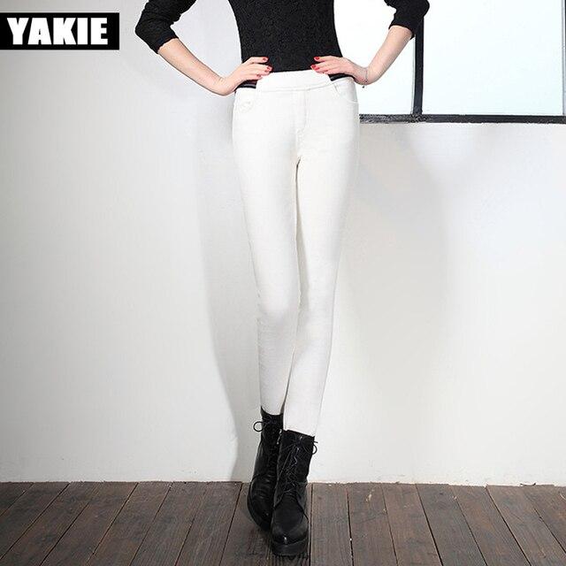e43e377fdb316 Pantalon en velours côtelé femmes hiver chaud 2017 printemps haute elasitc  taille maigre polaire patchwork causal