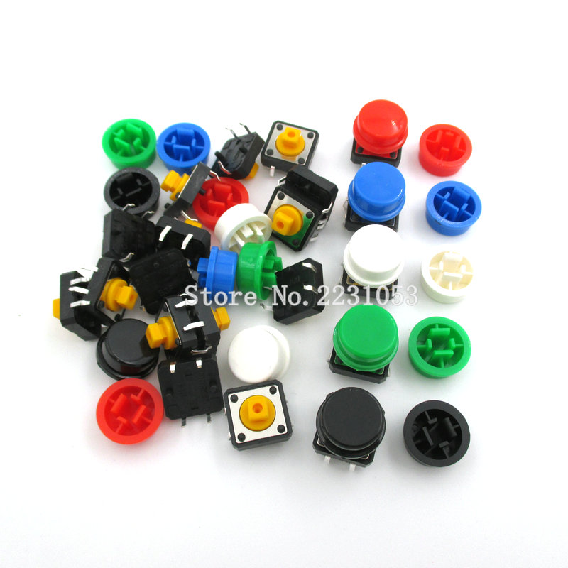 20PCS/set Tactile Push Button Switch Momentary 12*12*7.3MM Micro Switch Button + (20PCS 5 Colors Tact Cap)