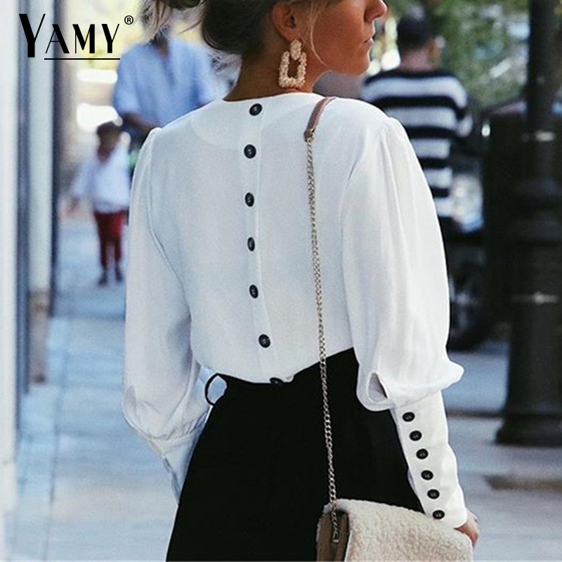 2019 Spring V neck women   blouse     shirt   puff sleeve button white   blouse   lady   shirt   top Female office chiffon   blouse   korean tops