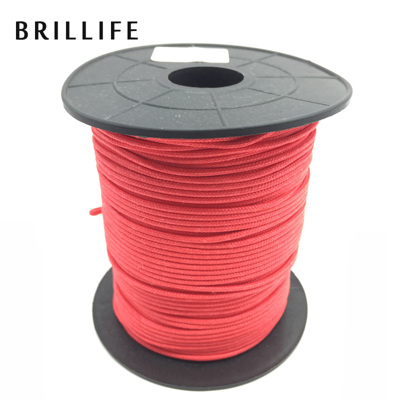 BRILLIFE 100m 2mm 180kg white/red Spearfishing Line 16 Strands Braided Rope 400LB PE Cord For Underwater Spear Gun Rope