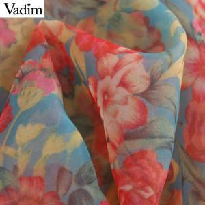 Image 5 - Vadim mujer sexy floral organza blusa transparente estilo lazo collar de manga larga Mujer ver a través de blusas chic LB311
