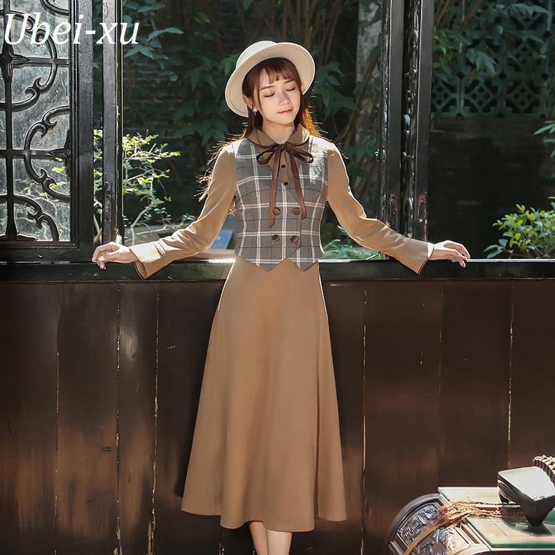 Ubei New Spring vintage British style slim plaid waistcoat+dress set fashion two-piece sets women