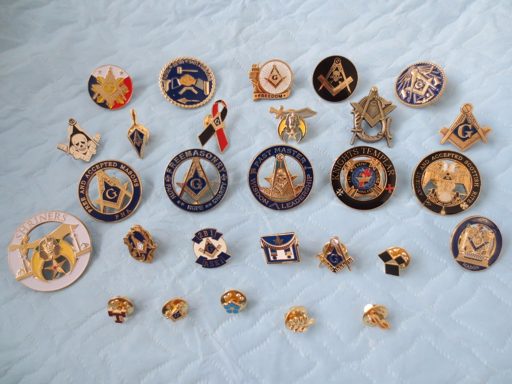 wholesale 28 different style of masonic lapel pins badge mason freemason size is from 0 6cm to 3