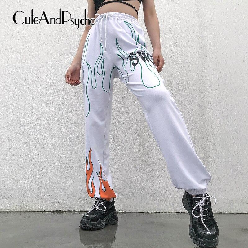 2019 Women Fire Printed Pants Casual Jogger Harajuku Trousers Summer Loose White High waist Pant Capris Streetwear cuteandpsycho
