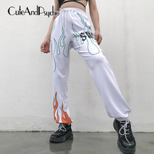 Women Fire Printed Sweatpants Casual Joggers Women Trousers Summer Loose White High waist P