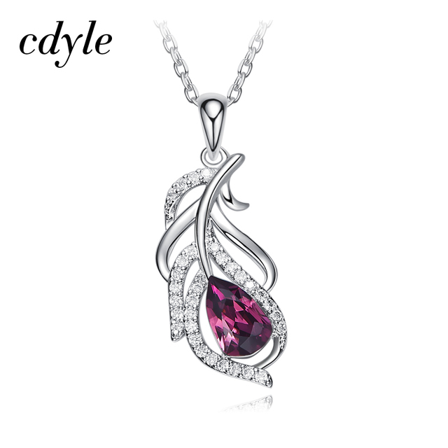 Cdyle Crystals from Swarovski Women Pendants   Necklaces S925 Sterling  Silver Jewelry Purple Feather Austrian Rhinestone da82e034af97
