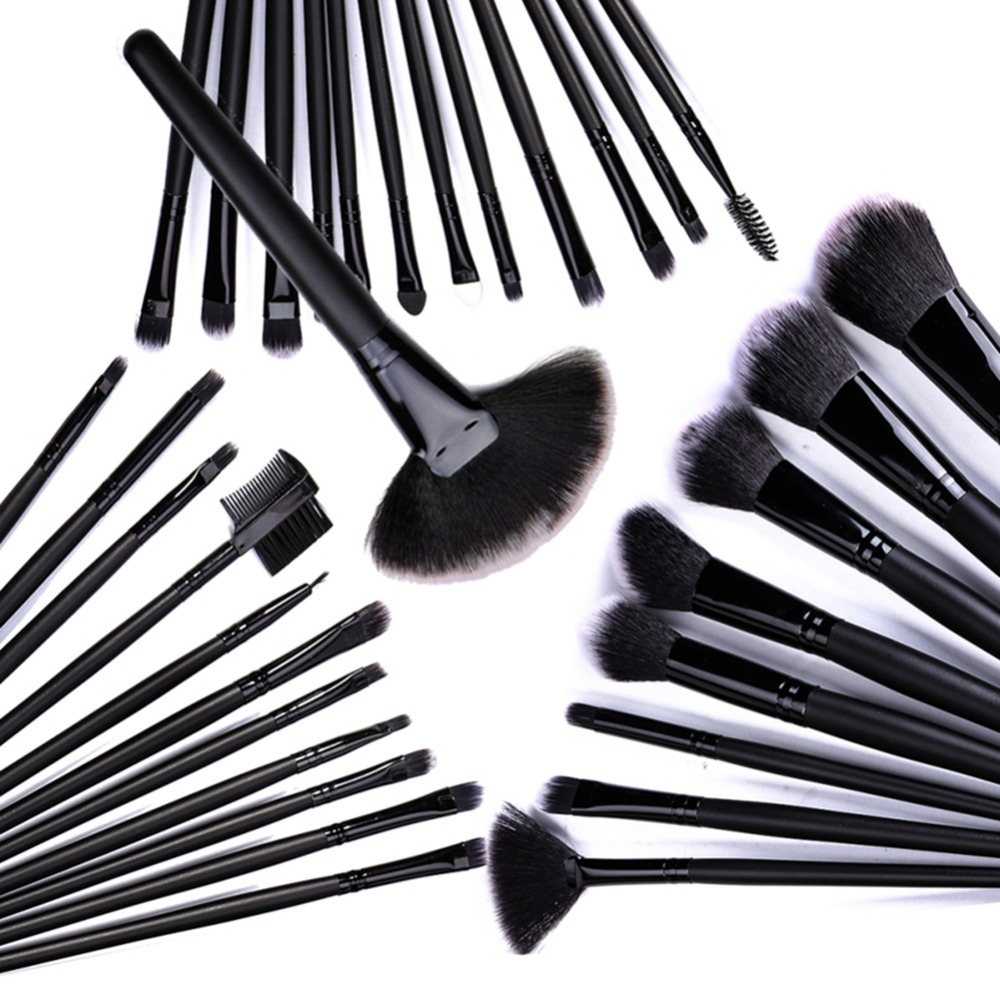 32 stücke Schwarz Make-Up Pinsel <font><b>Kit</b></font> Foundation Lip Pinsel Lidschatten Make-up Pinsel <font><b>Set</b></font> Fan Pinsel <font><b>Kit</b></font> image
