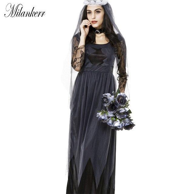 0007b4993 A Noiva Cadáver Traje de Halloween Cosplay Mulheres Vestido de Renda  Partido de Feriado de Carnaval