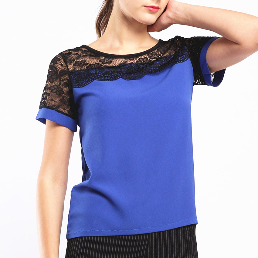 BIBOYAMALL Blouses For Women Summer Women Tops Lace Short Sleeve Casual Chiffon Blouse Female Work Wear Shirts Top Plus Size 5XL