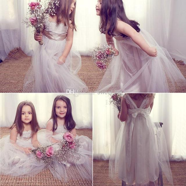 5b23d95ff7d7 Cheap Anna Campbell Flower Girls' Dresses Lace Tulle Floor Length Backless Cute  Girls Formal Dress Little Girl Party Gown
